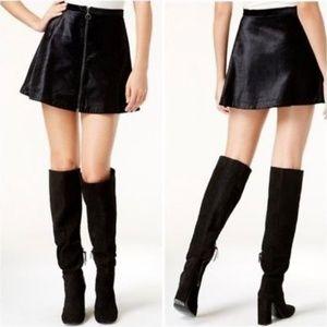 Free People Black Velvet Mini Skirt NWOT